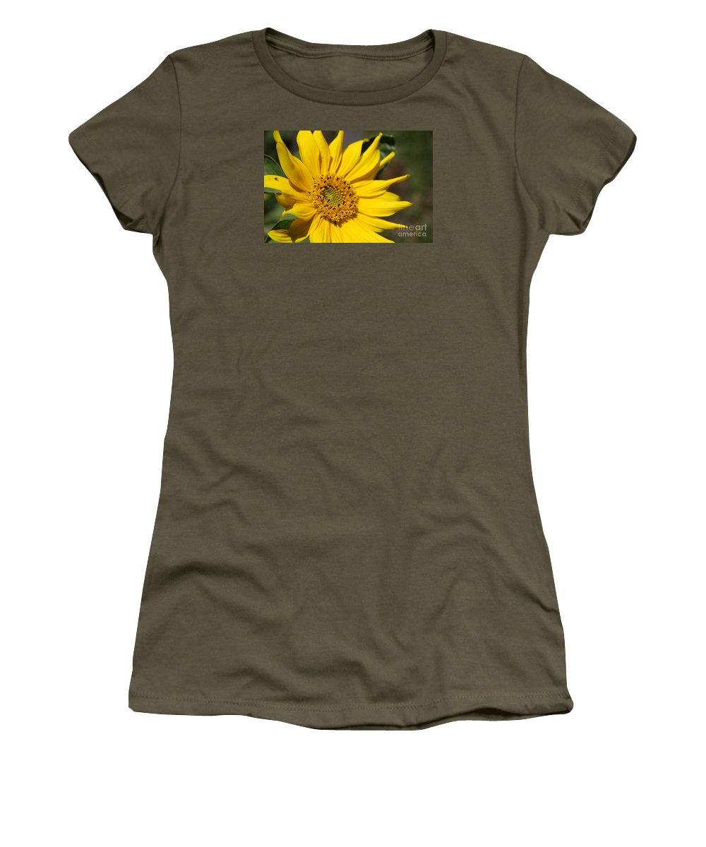 Sunflower Women's T-Shirt (Athletic Fit) featuring the photograph Yellow Sunflower by Christiane Schulze Art And Photography