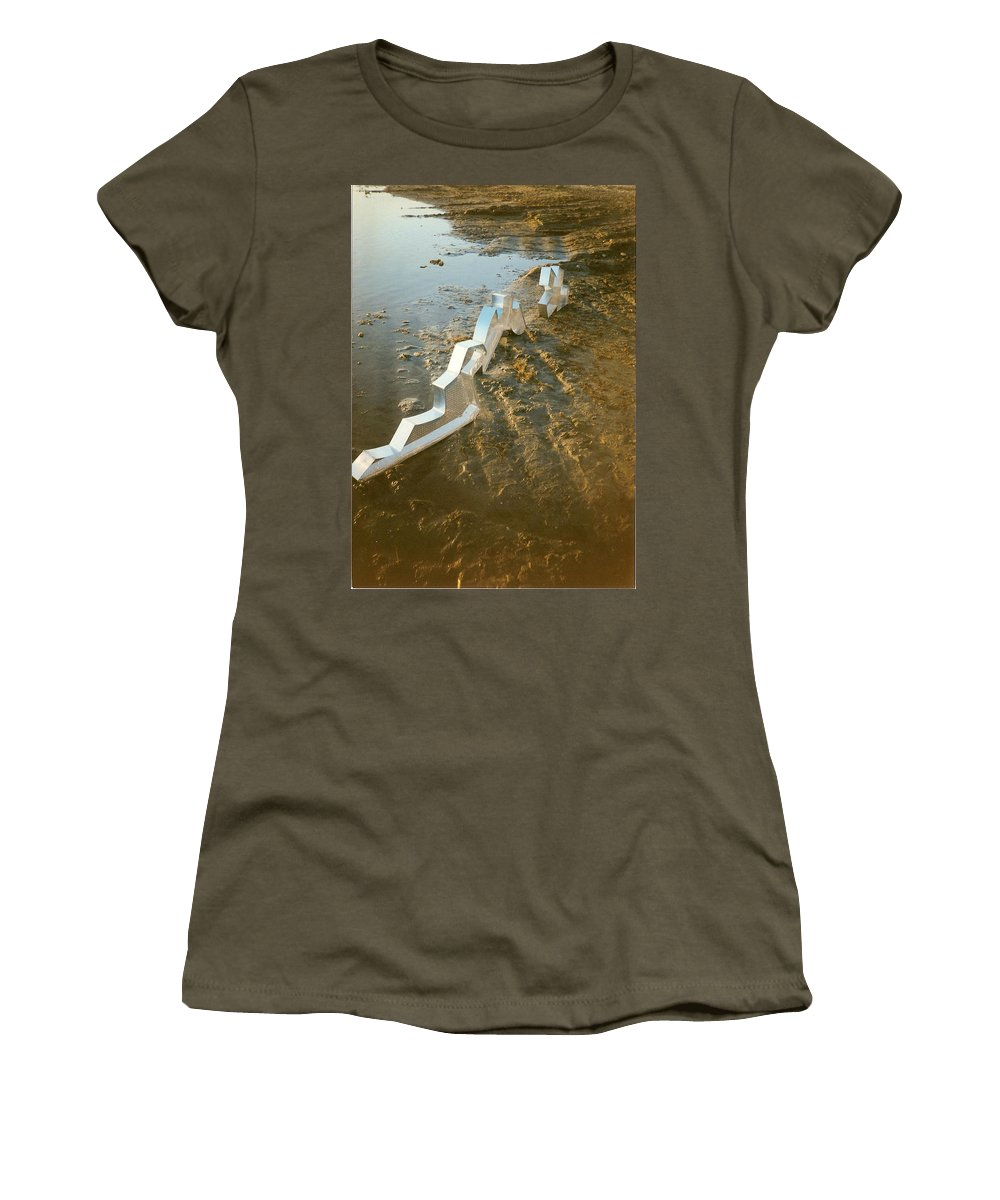 Zinc Women's T-Shirt featuring the photograph Zinc Sculptures On The Beach At Sunset by Liliane DUMONT-BUIJS