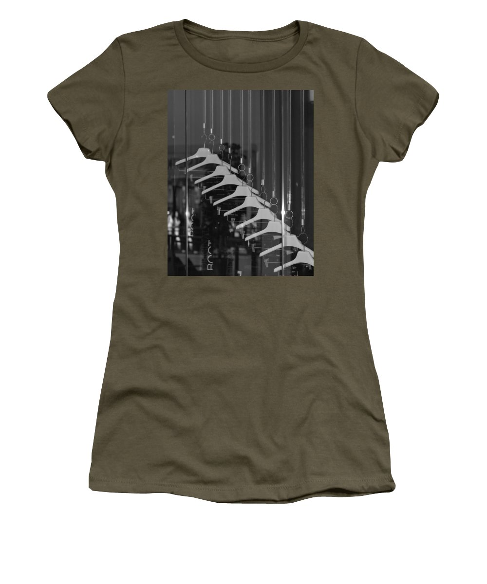 Hangers Women's T-Shirt featuring the photograph 10 Hangers In Black And White by Rob Hans