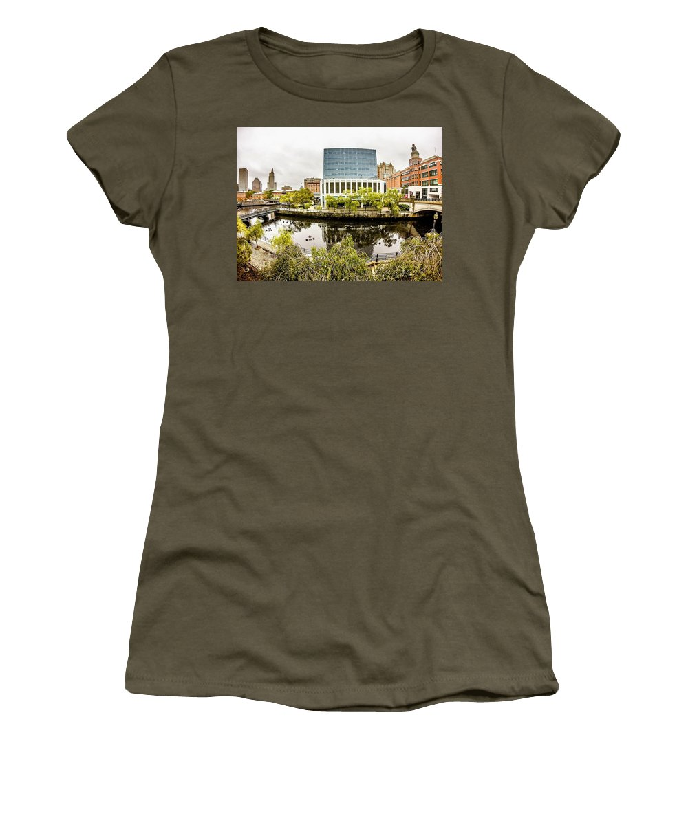 Providence Women's T-Shirt featuring the photograph Providence Rhode Island City Skyline In October 2017 by Alex Grichenko
