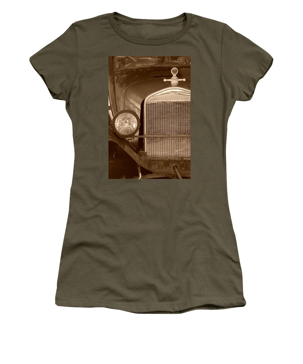Sepia Women's T-Shirt (Athletic Fit) featuring the photograph 1926 Model T by Rob Hans