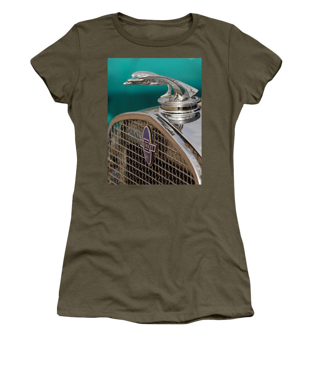 Car Women's T-Shirt featuring the photograph 1931 Chevrolet Hood Ornament by Jill Reger