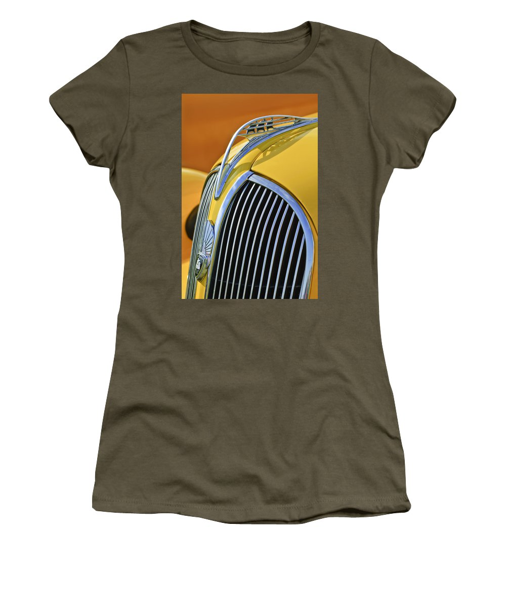 1937 Plymouth Women's T-Shirt (Athletic Fit) featuring the photograph 1937 Plymouth Hood Ornament 2 by Jill Reger