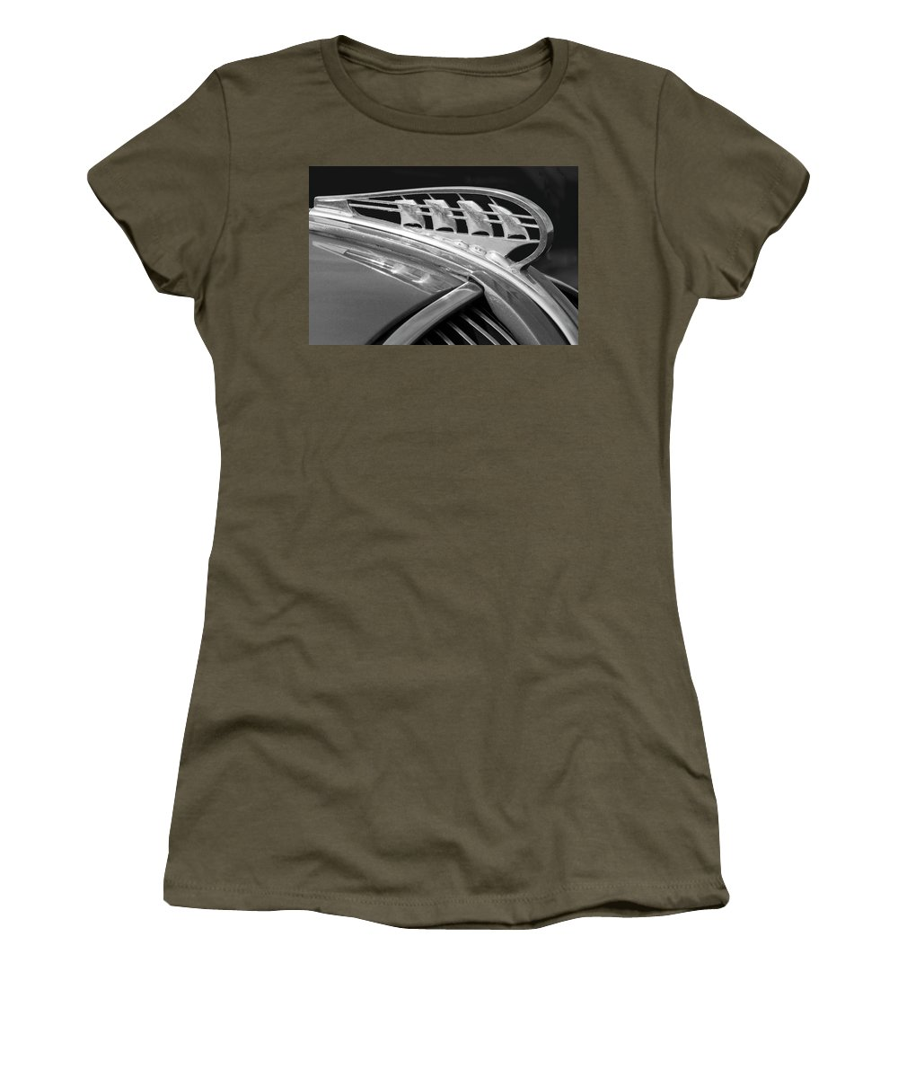 1938 Plymouth Women's T-Shirt featuring the photograph 1938 Plymouth Hood Ornament 2 by Jill Reger