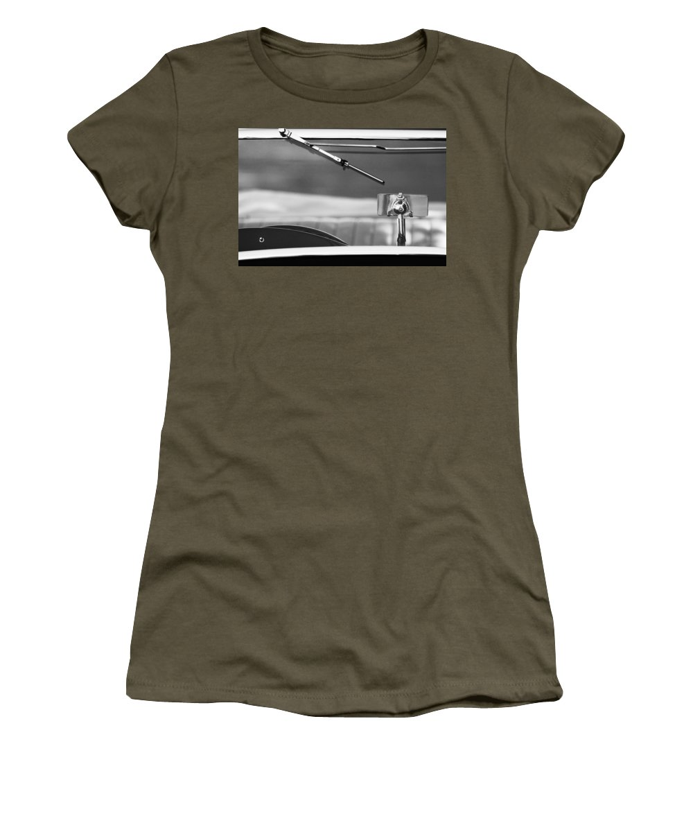 Transportation Car Detail Women's T-Shirt featuring the photograph 1948 Mg Tc Rear View Mirror Black And White by Jill Reger