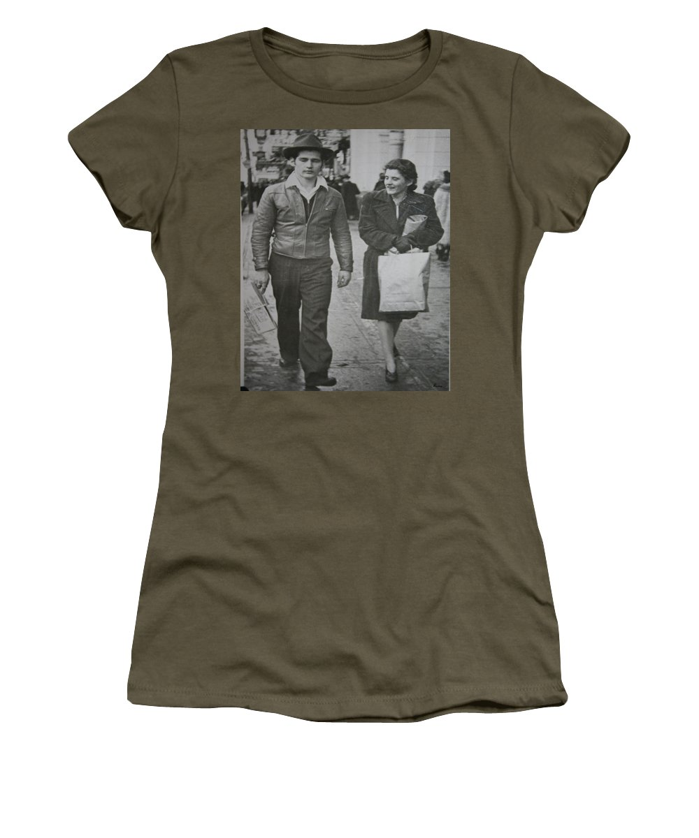1950 Fashion Black And White Photograph Old Images Classic Women's T-Shirt featuring the photograph 1950s Fashion by Andrea Lawrence