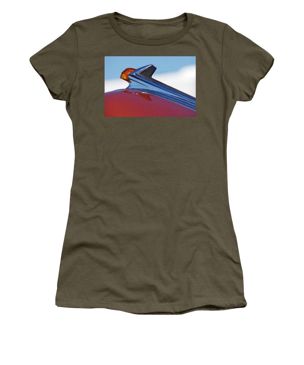 Car Women's T-Shirt featuring the photograph 1952 Pontiac Tin Woodie Wagon Hood Ornament by Jill Reger