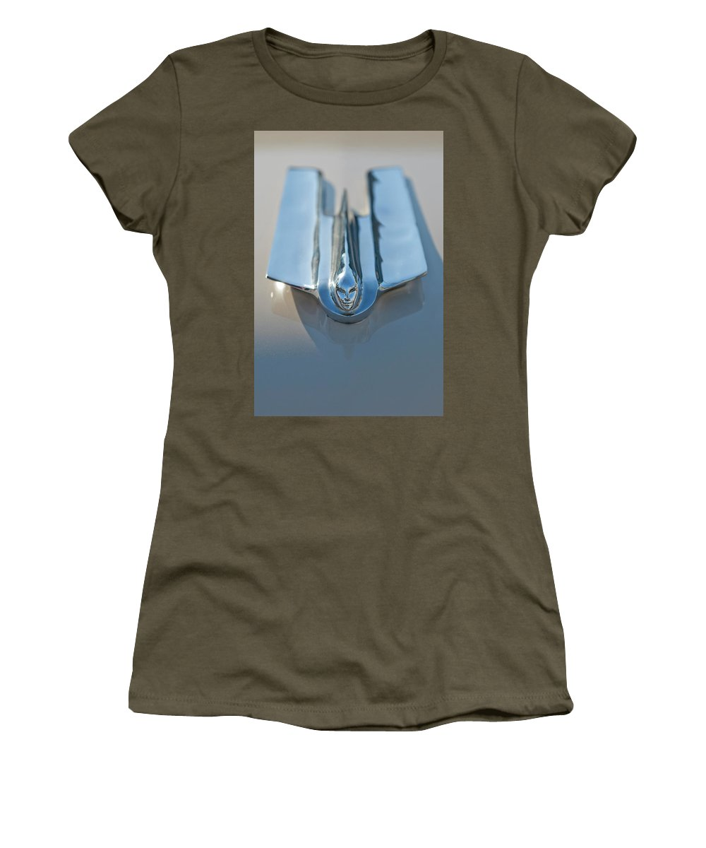 1955 Cadillac Coupe Women's T-Shirt featuring the photograph 1955 Cadillac Coupe Hood Ornament by Jill Reger