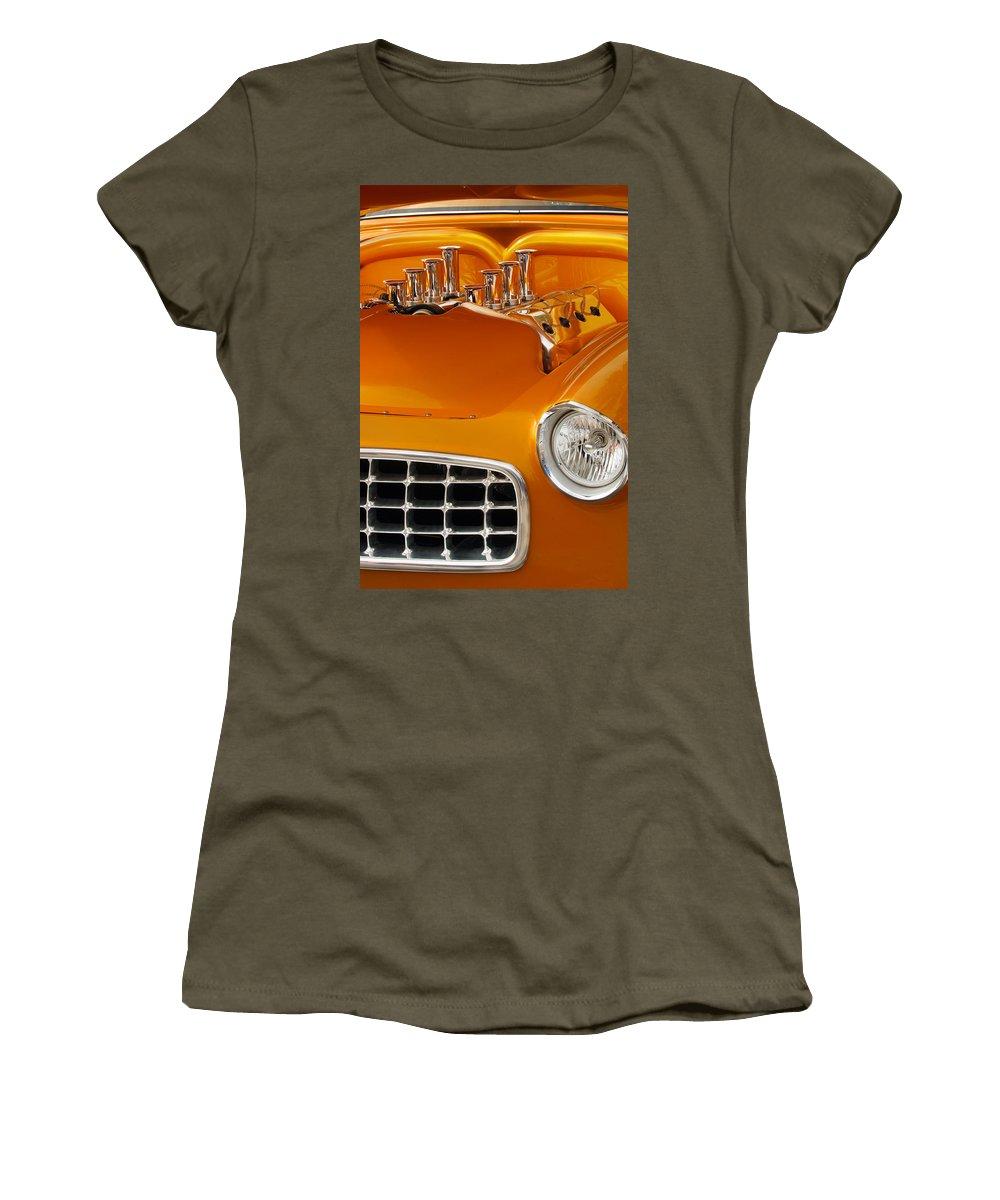 Transportation Women's T-Shirt (Athletic Fit) featuring the photograph 1956 Chrysler Custom 2 Door Sport Wagon by Jill Reger