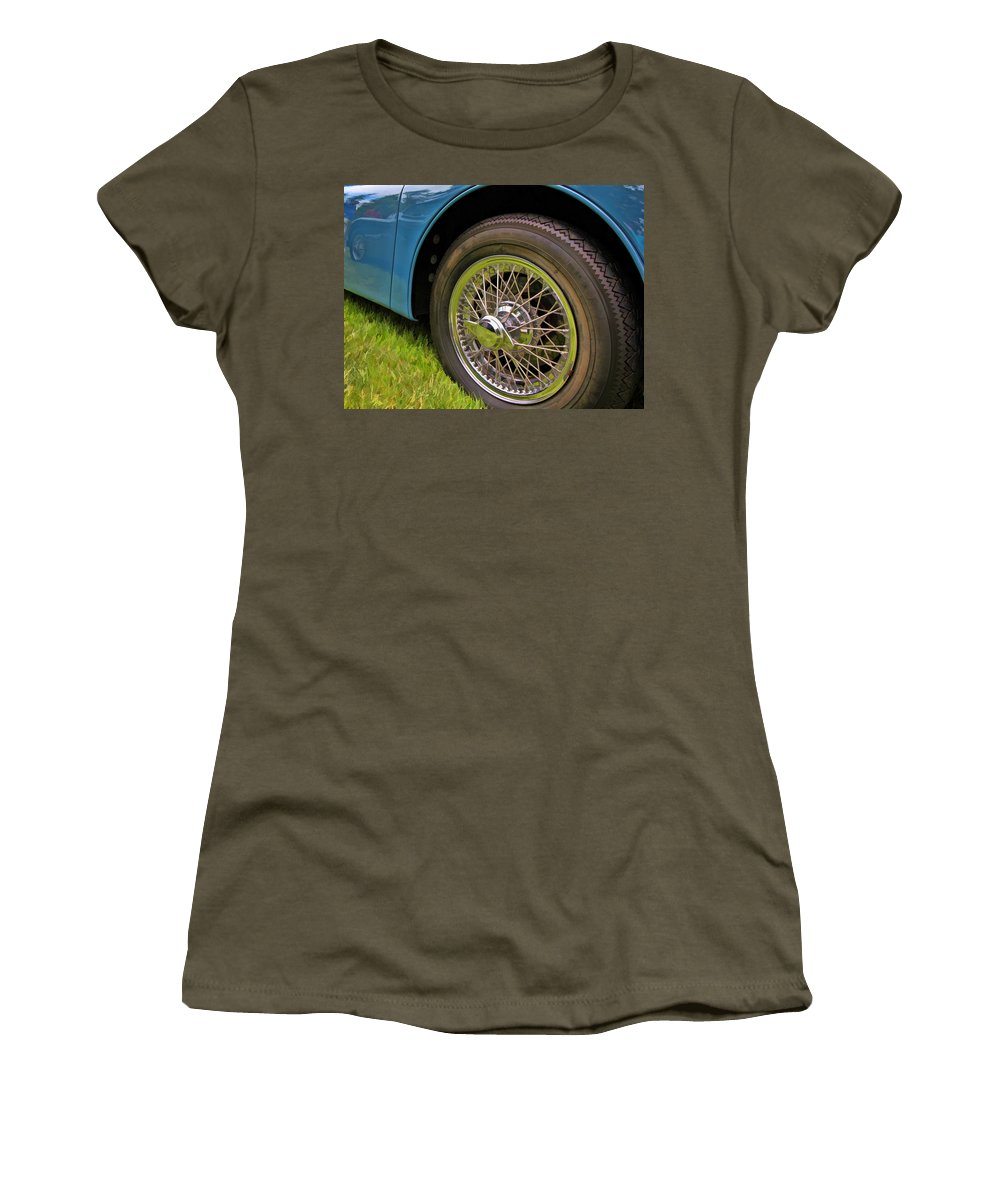 1959 Jaguar Xk150s Women's T-Shirt (Athletic Fit) featuring the photograph 1959 Jaguar X K 150s Wire Wheel by Allen Beatty