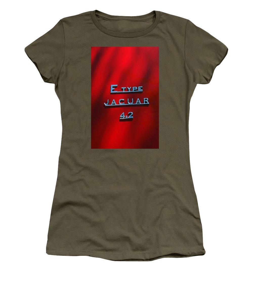 Car Women's T-Shirt featuring the photograph 1965 Jaguar E Type Emblem by Jill Reger
