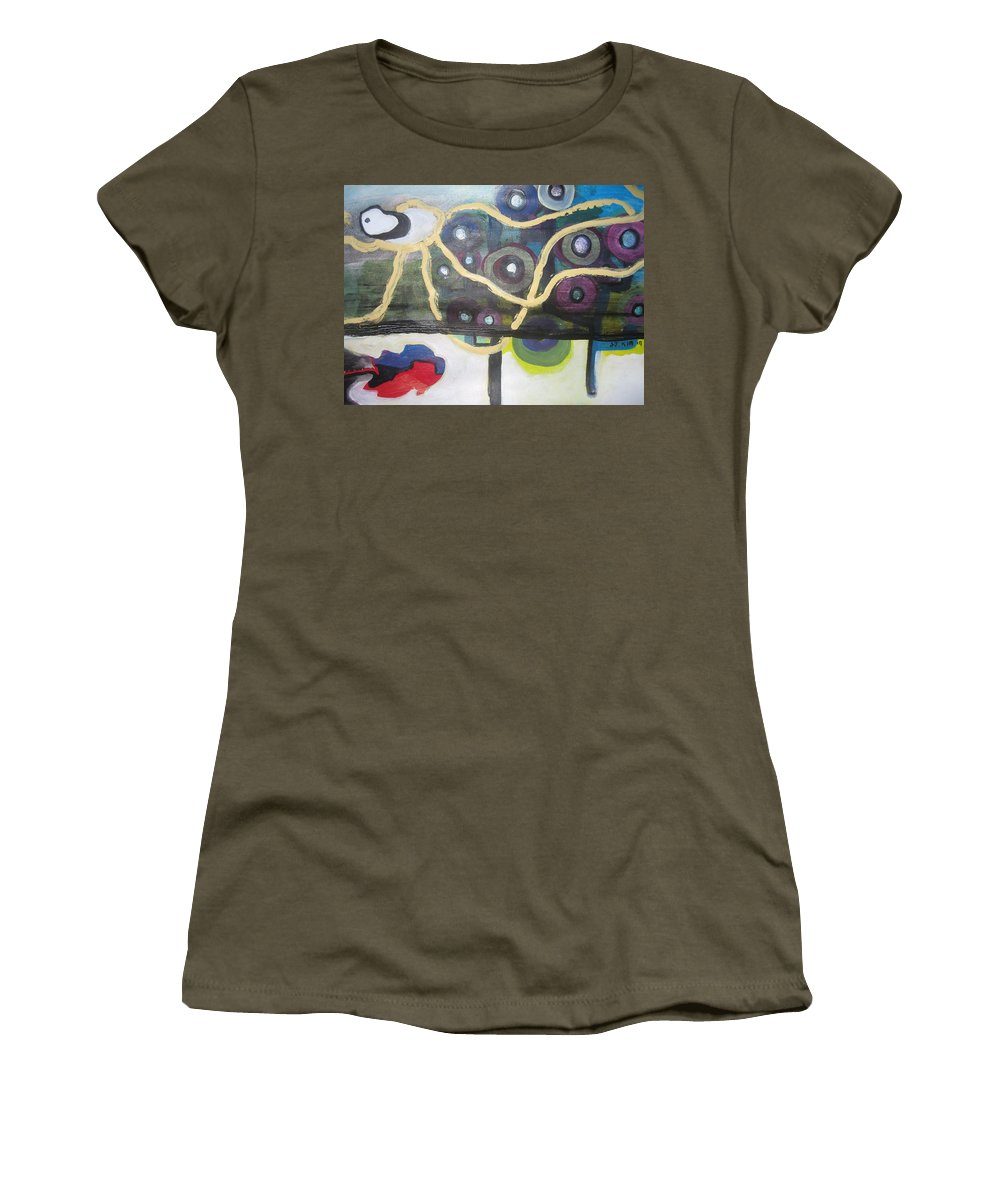 Abstract Contemporary Apple Tree Sun Plant Outdoor Blue Women's T-Shirt (Athletic Fit) featuring the painting Apple Trees by Seon-Jeong Kim