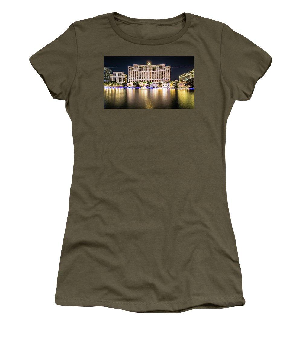 Nevada Women's T-Shirt (Athletic Fit) featuring the photograph Bellagio Hotel On Nov, 2017 In Las Vegas, Nevada,usa. Bellagio I by Alex Grichenko