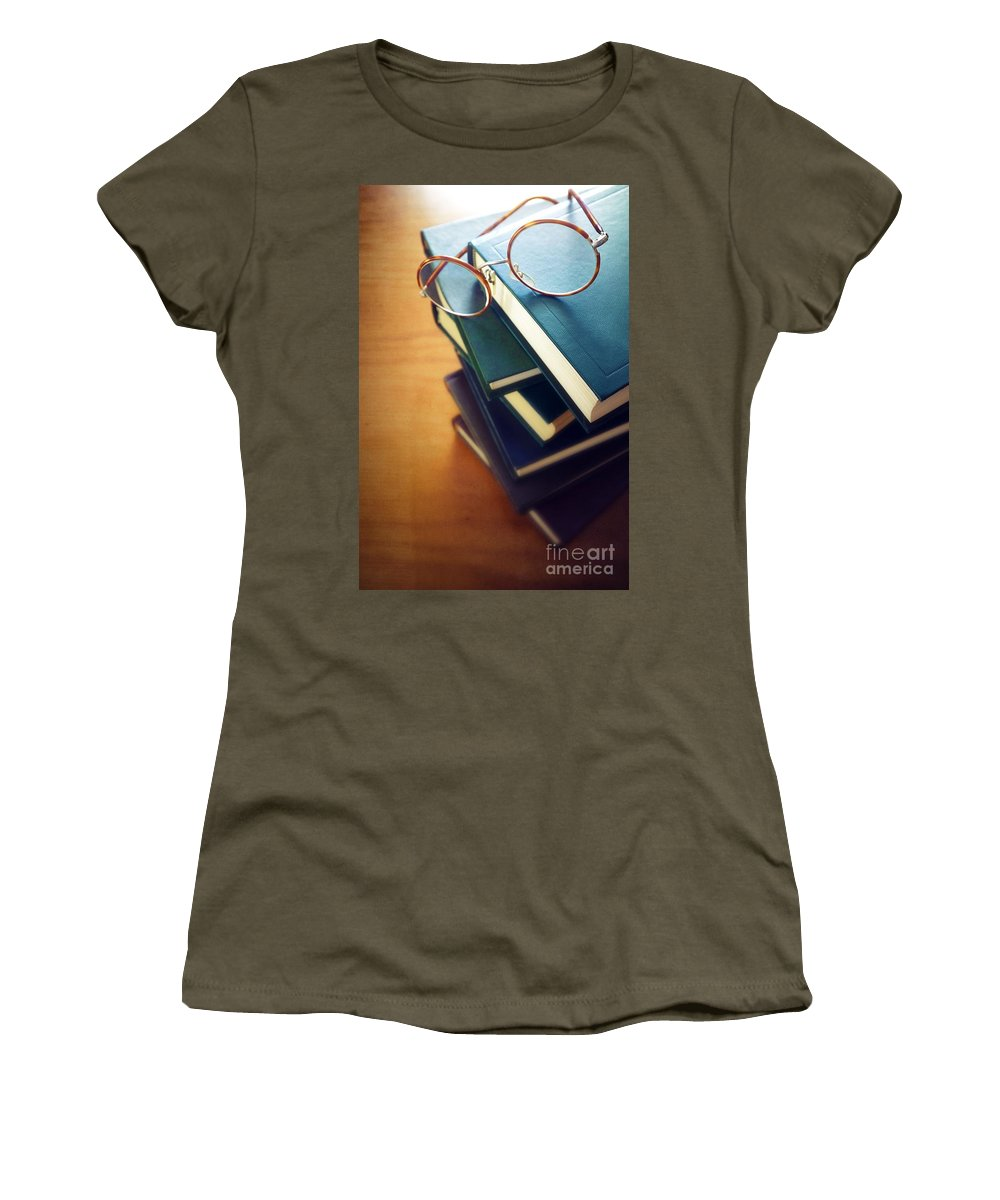 Antique Women's T-Shirt featuring the photograph Books And Glasses by Carlos Caetano