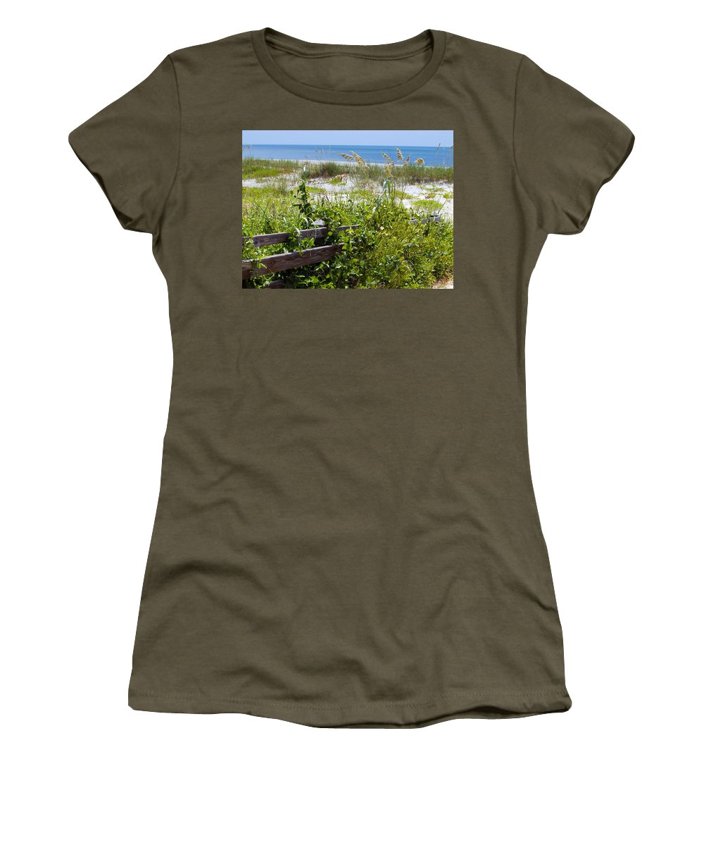 Florida; Beach; Ocean; Waves; Wave; Surf; Sand; Sandy; Coast; Shore; Atlantic; Cape; Canaveral; Scen Women's T-Shirt (Athletic Fit) featuring the photograph Cape Canaveral Florida by Allan Hughes