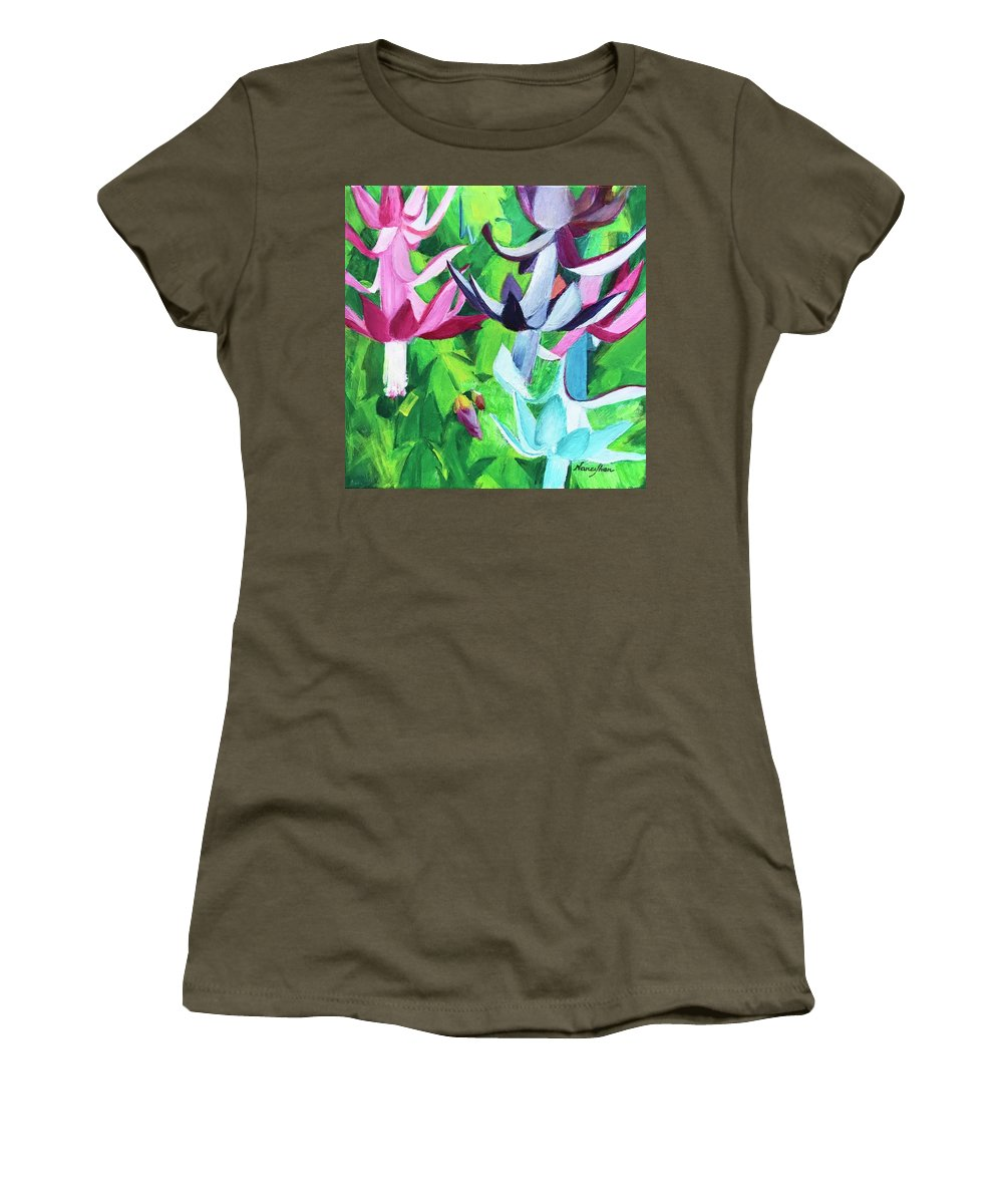 Christmas Cactus Women's T-Shirt featuring the painting Christmas Cactus by Nancy Shen