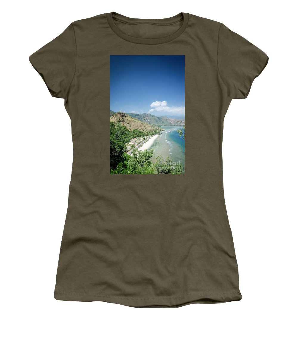 Area Women's T-Shirt (Athletic Fit) featuring the photograph Coast And Beach View Near Dili In East Timor Leste by Jacek Malipan