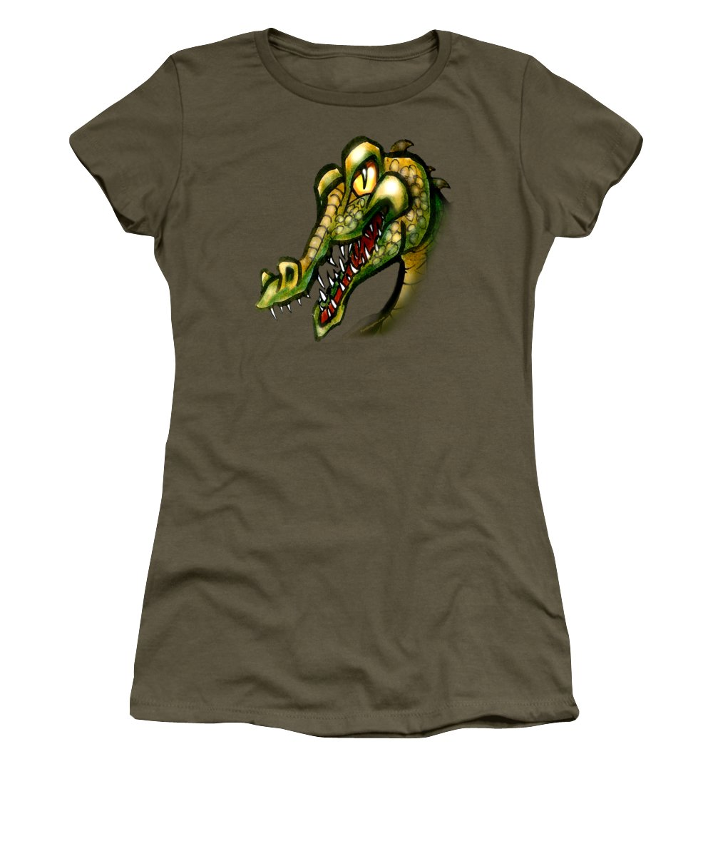 Crocodile Women's T-Shirt (Athletic Fit) featuring the painting Crocodile by Kevin Middleton