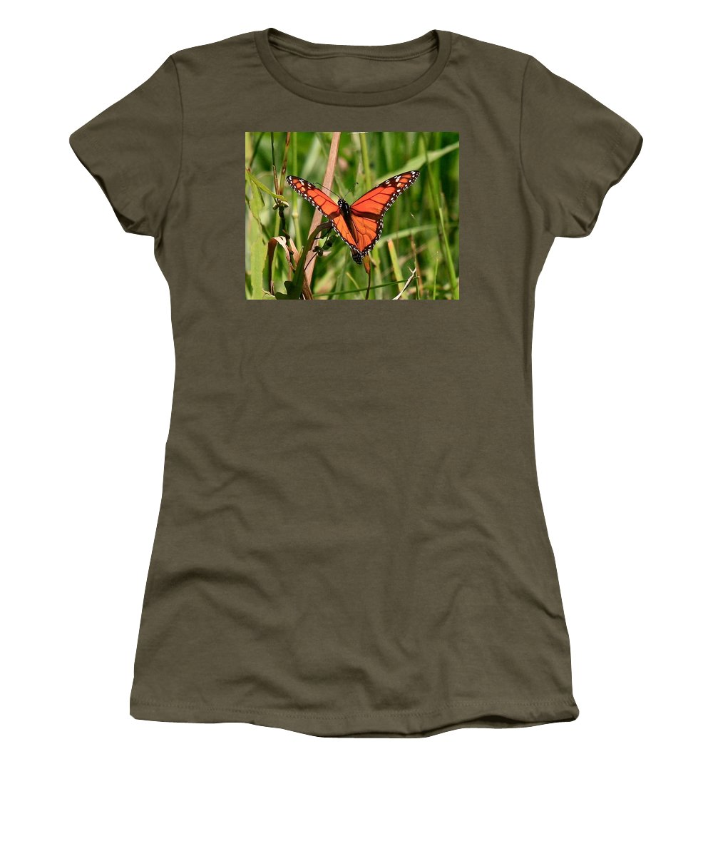 Butterfly Women's T-Shirt (Athletic Fit) featuring the photograph Drying My Wings by Robert Pearson