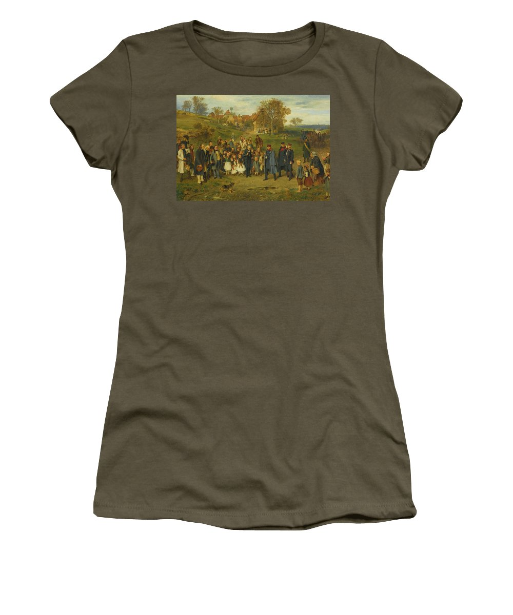 Ludwig Knaus - His Highness On A Journey - 1867 Women's T-Shirt (Athletic Fit) featuring the painting His Highness On A Journey by Ludwig Knaus