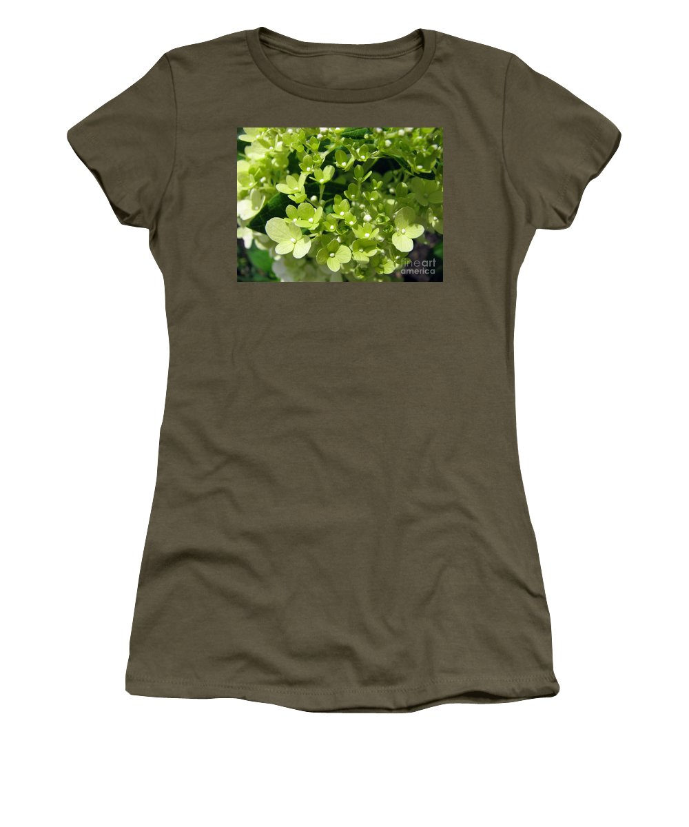 Hydrangea Women's T-Shirt (Athletic Fit) featuring the photograph Hydrangea by Amanda Barcon