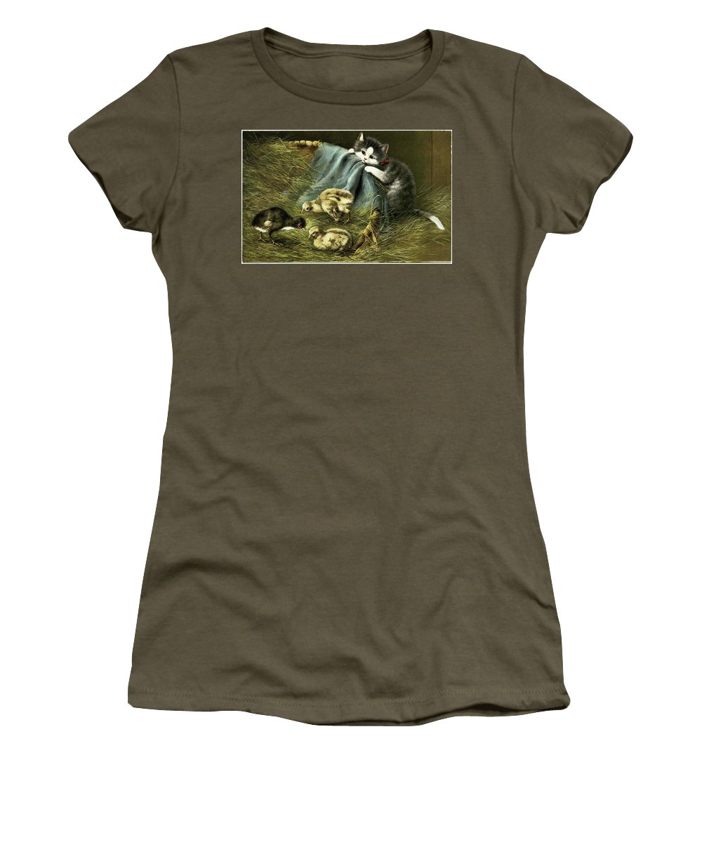 Kitten Peeking In On Chicks Women's T-Shirt (Athletic Fit) featuring the painting Kitten Peeking In On Chicks by MotionAge Designs