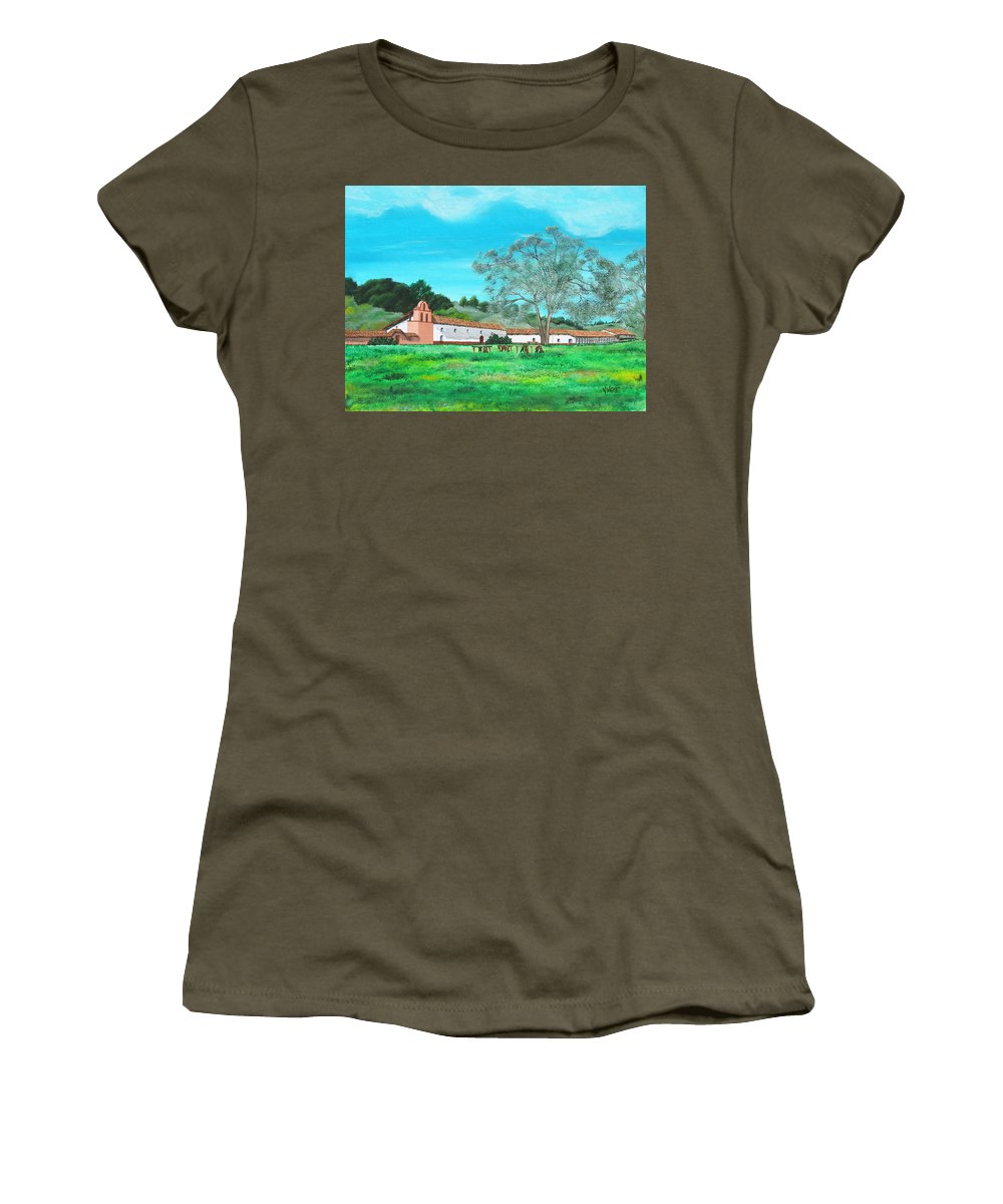 La Purisima Women's T-Shirt featuring the painting La Purisima Mission by Angie Hamlin
