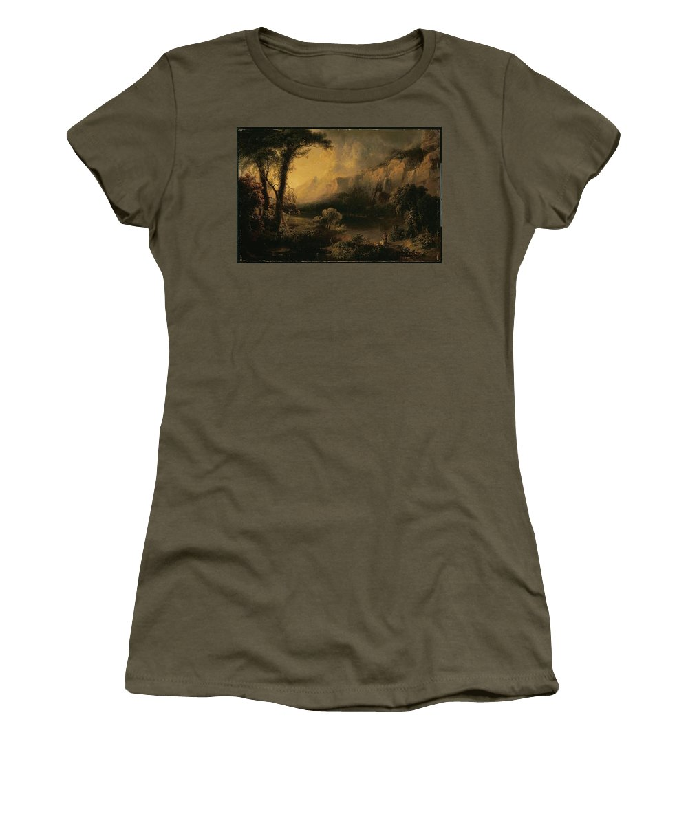 Lake And Mountains Women's T-Shirt (Athletic Fit) featuring the painting Lake And Mountains by MotionAge Designs
