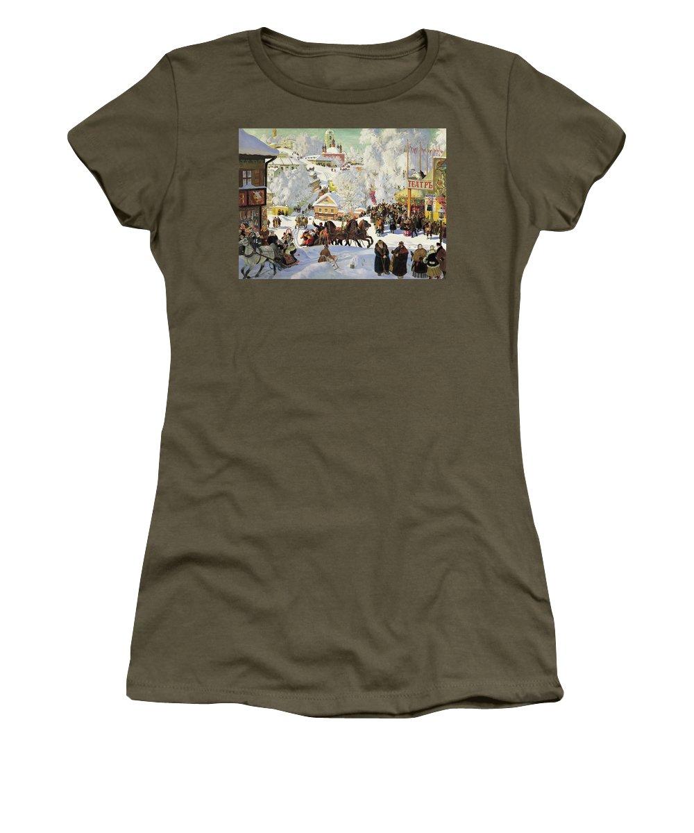 Maslenitsa Women's T-Shirt (Athletic Fit) featuring the painting Maslenitsa by Boris Kustodiev