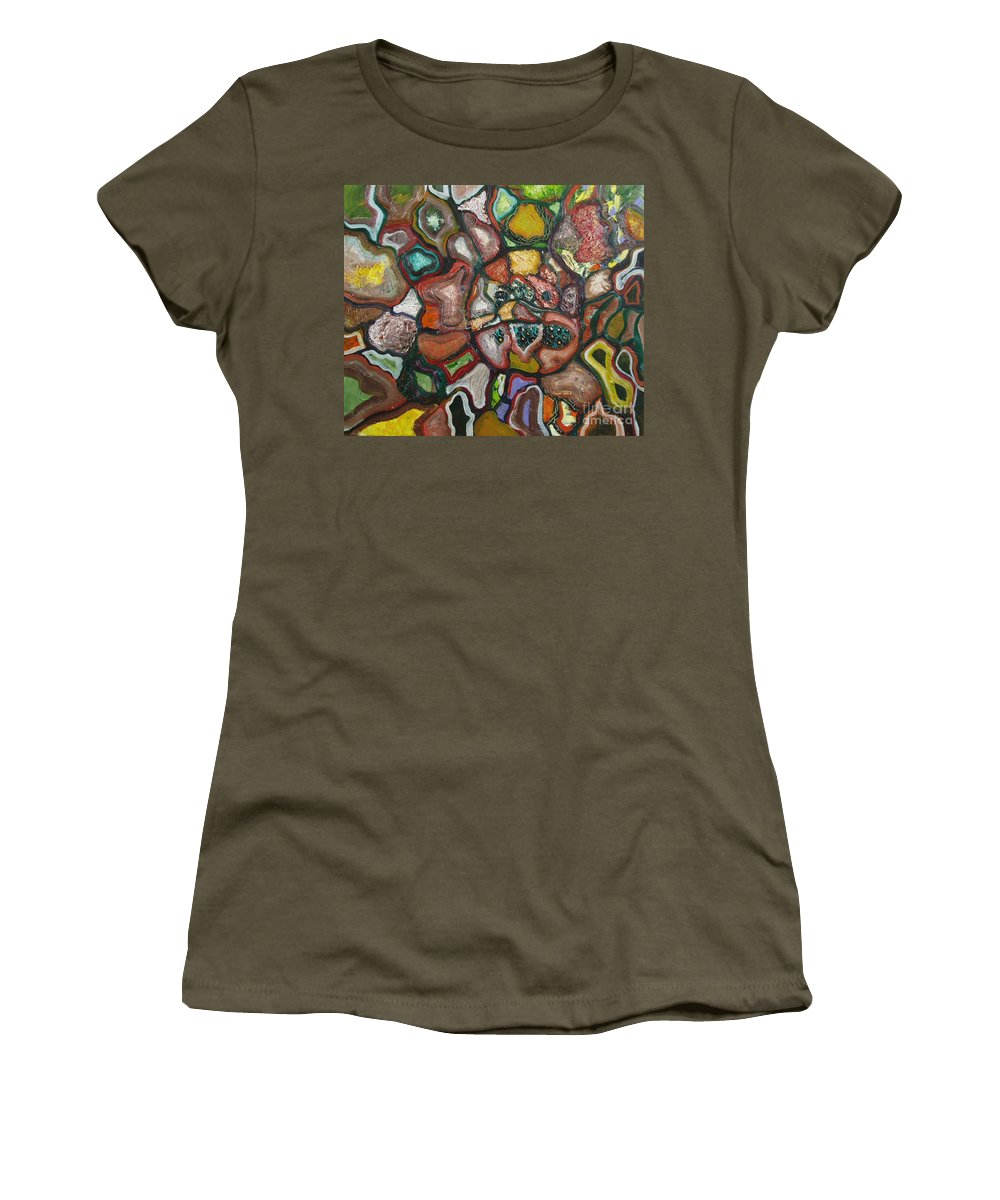 Abstract Paintings Paintings Abstract Art Paintings Women's T-Shirt (Athletic Fit) featuring the painting Mindscape by Seon-Jeong Kim