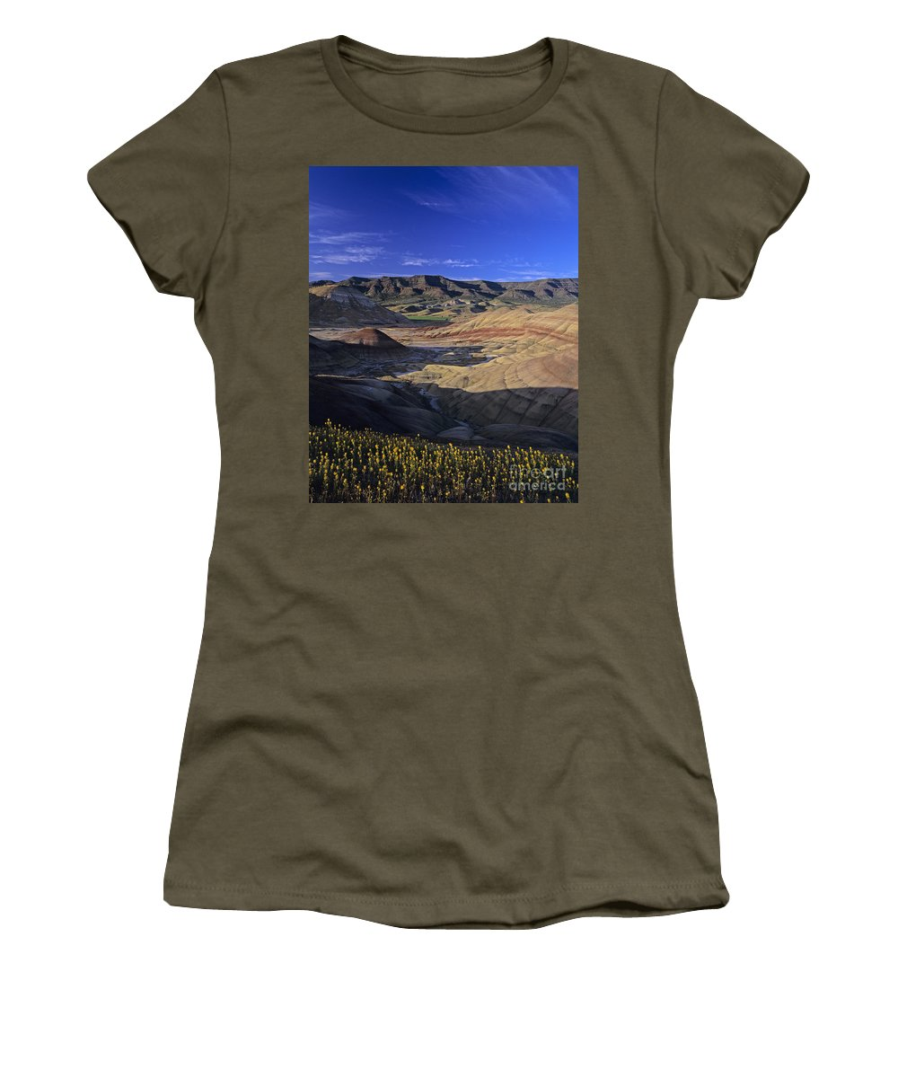 Pacific Northwest Women's T-Shirt (Athletic Fit) featuring the photograph Painted Hills by Jim Corwin
