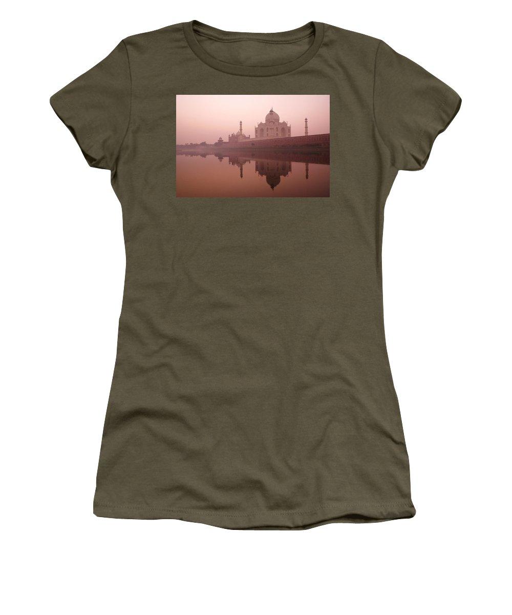 Taj Mahal Women's T-Shirt featuring the photograph Taj Mahal At Dawn by Michele Burgess