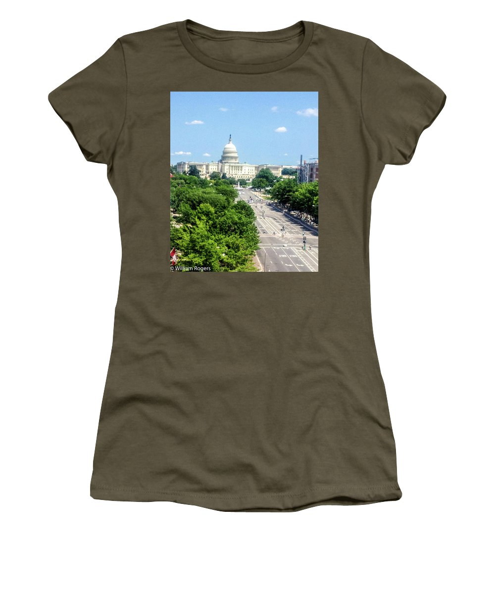 This Is A Photo Taken Of The United States Capitol Building From The Newseum In Washington D.c. Women's T-Shirt featuring the photograph United States Capitol Building by William Rogers