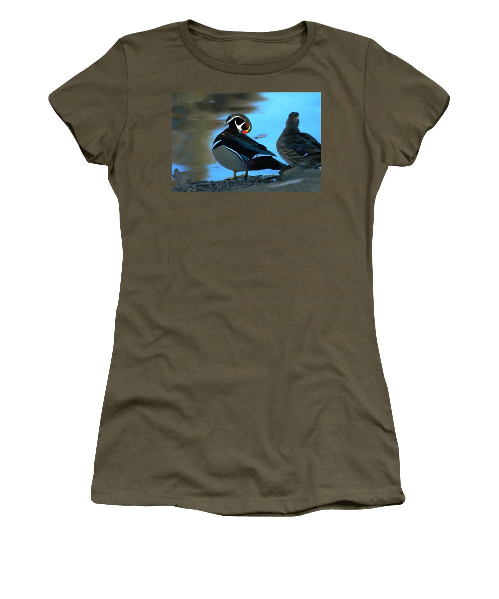 Clay Women's T-Shirt (Athletic Fit) featuring the photograph Wood Duck by Clayton Bruster