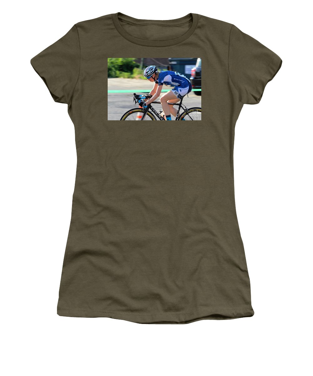 Women's T-Shirt (Athletic Fit) featuring the photograph Fearless Femme Racing by Donn Ingemie