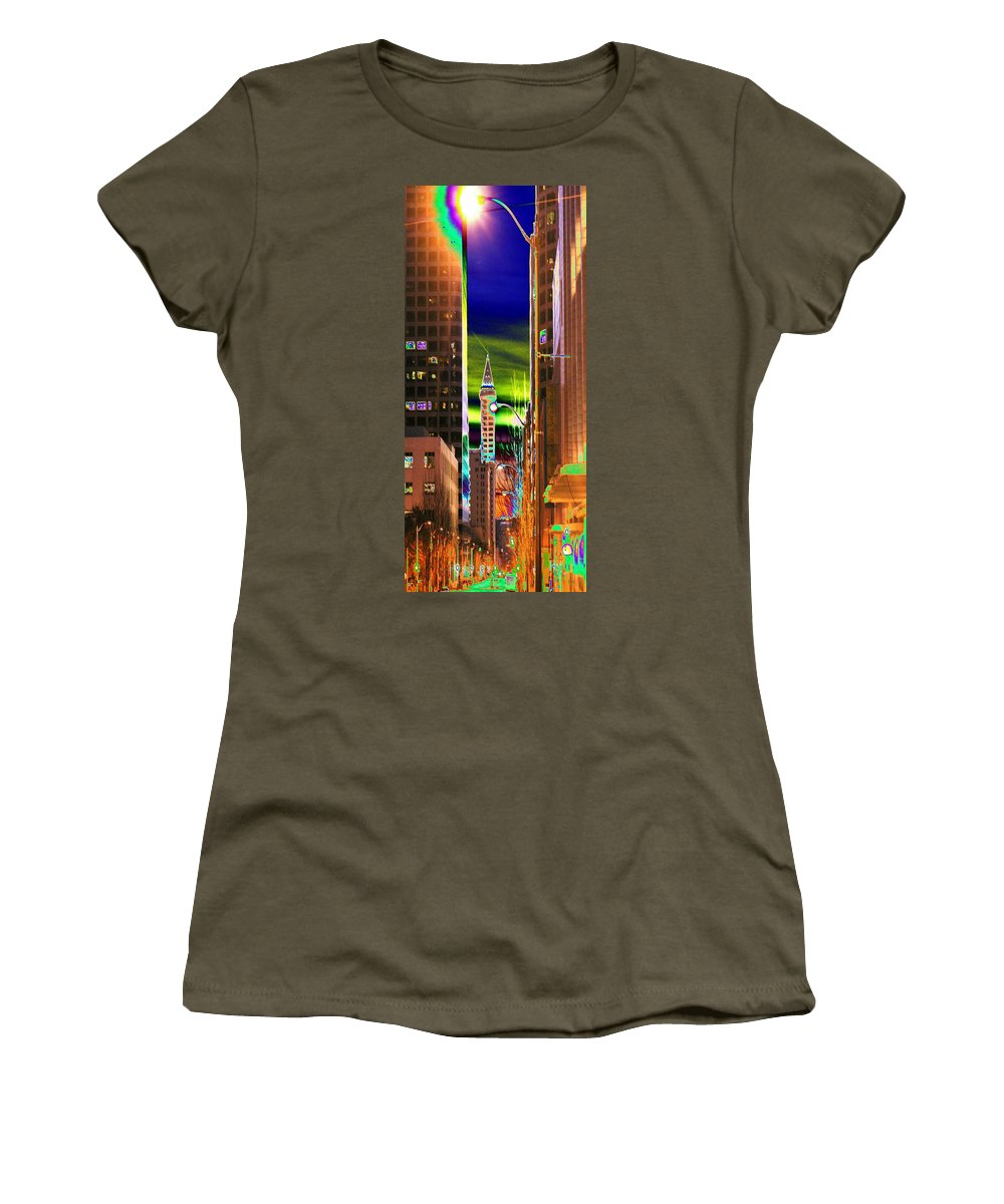 Seattle Women's T-Shirt (Athletic Fit) featuring the photograph 2nd Avenue Sunrise by Tim Allen