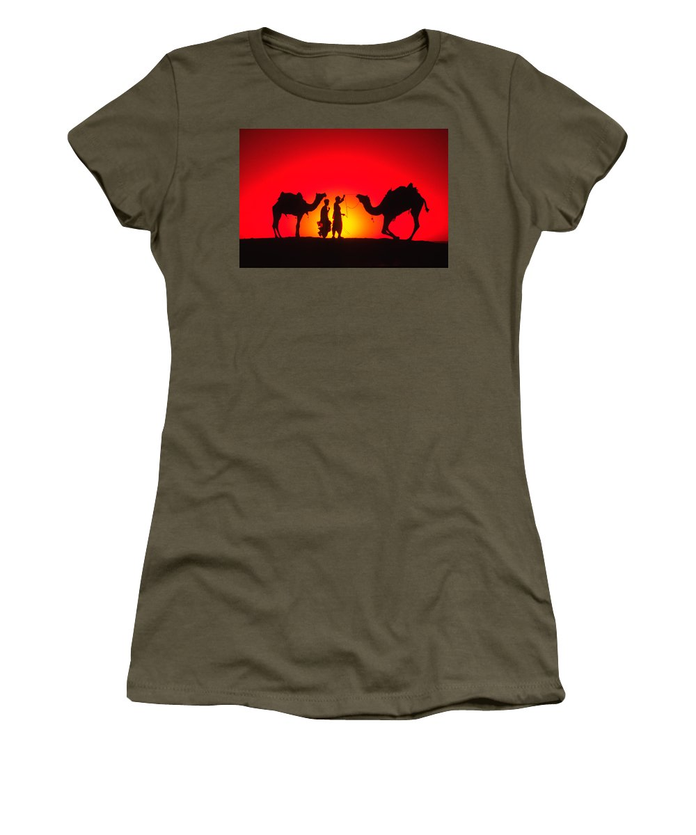 India Women's T-Shirt featuring the photograph Camels At Sunset by Michele Burgess