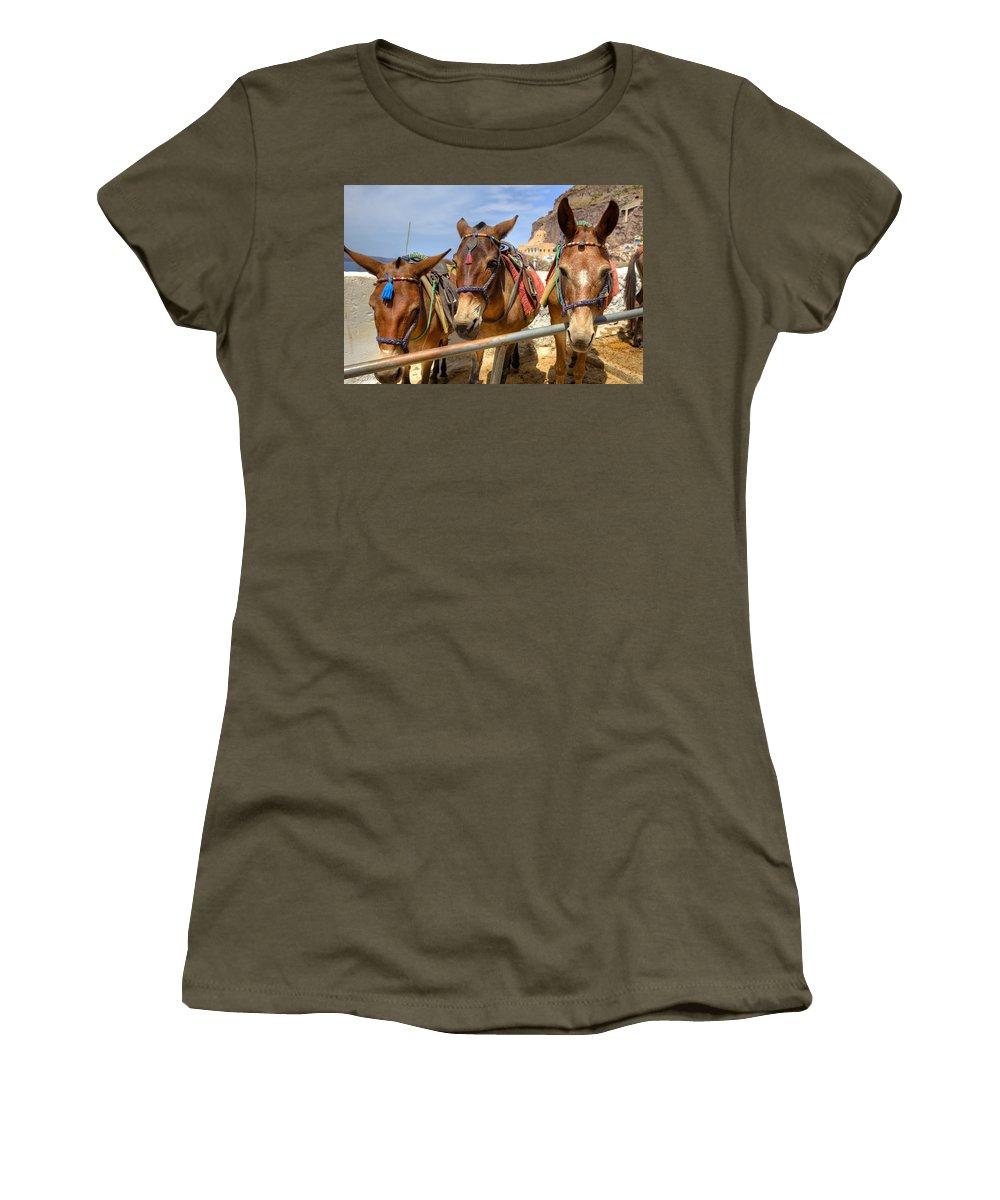 Fira Women's T-Shirt featuring the photograph Fira - Santorini by Joana Kruse