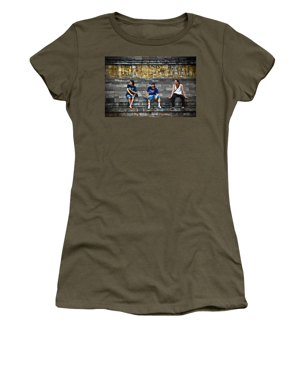 Men Women's T-Shirt (Athletic Fit) featuring the photograph 3 Men Watching by Charuhas Images