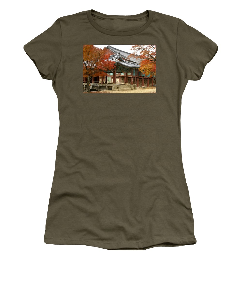 Korea Women's T-Shirt featuring the photograph Seonamsa In Autumn by Michele Burgess