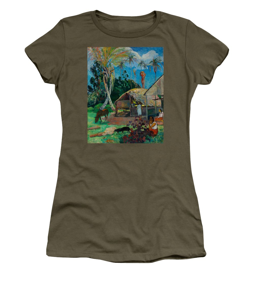 Paul Gauguin Women's T-Shirt featuring the painting The Black Pigs by Paul Gauguin