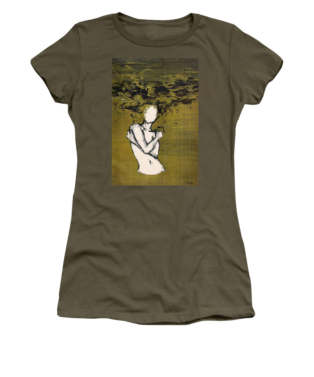 Gold Woman Hair Bath Nude Women's T-Shirt (Athletic Fit) featuring the mixed media Untitled by Veronica Jackson