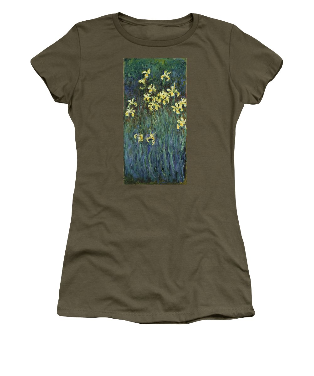 Claude Monet.monet Women's T-Shirt (Athletic Fit) featuring the painting Yellow Irises by Claude Monet