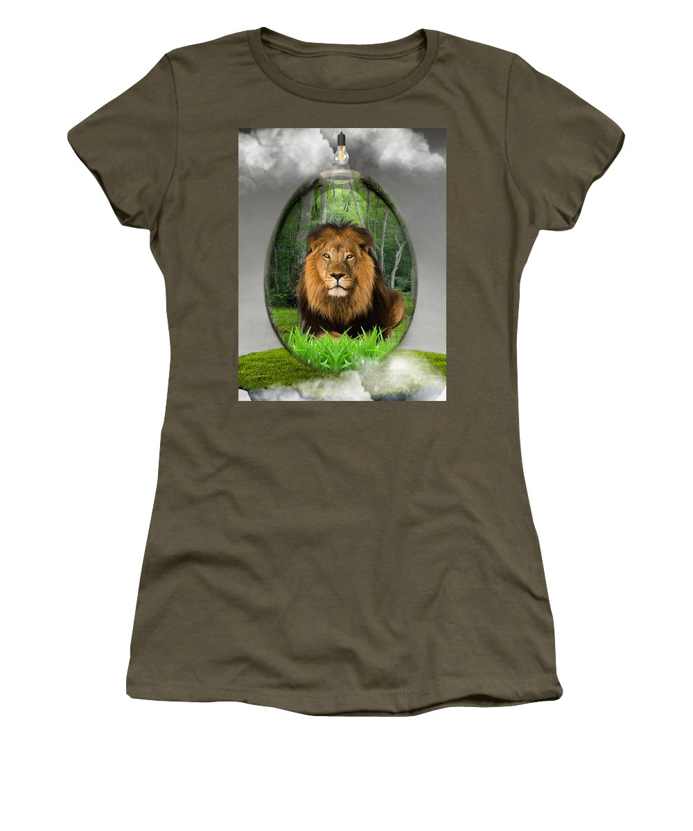 Lion Women's T-Shirt (Athletic Fit) featuring the mixed media Lion Art by Marvin Blaine