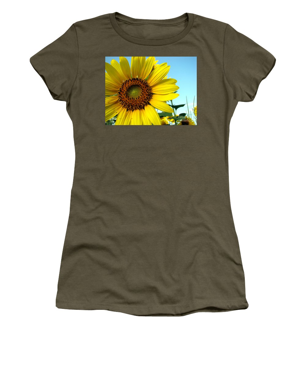 Sunflowers Women's T-Shirt (Athletic Fit) featuring the photograph Sunflower Series by Amanda Barcon