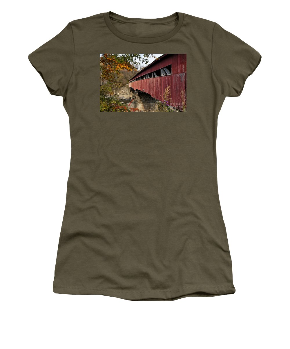 New England Women's T-Shirt featuring the photograph Vermont Covered Bridge by John Greim