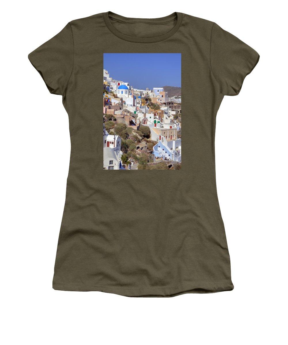 Oia Women's T-Shirt featuring the photograph Oia - Santorini by Joana Kruse
