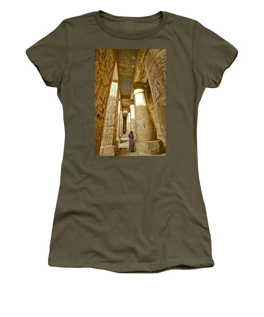 Egypt Women's T-Shirt featuring the photograph Colonnade In An Egyptian Temple by Michele Burgess