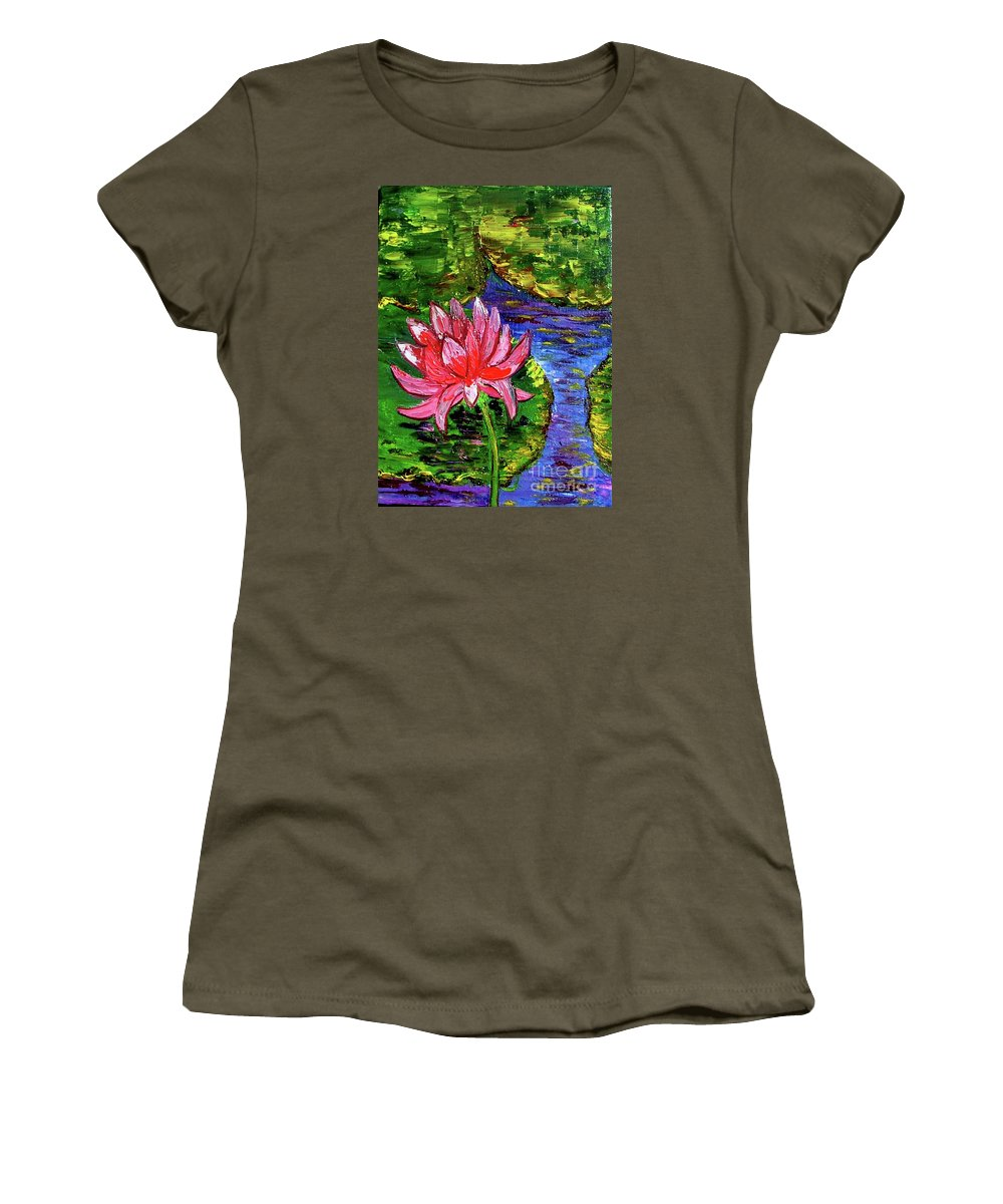 Lily Women's T-Shirt (Athletic Fit) featuring the painting Lily Pond by Inna Montano