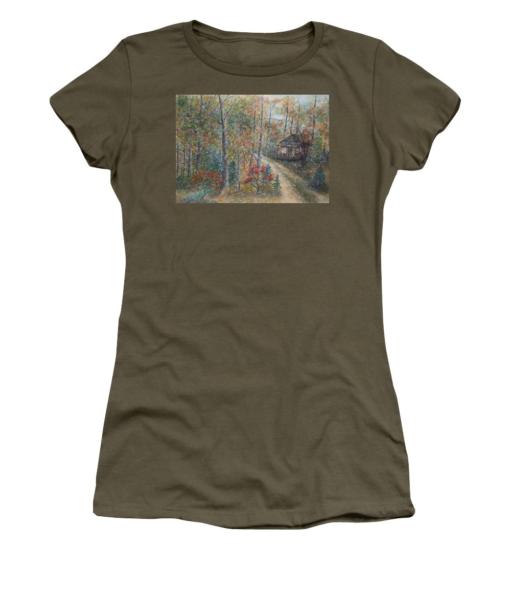 Country Road; Old House; Trees Women's T-Shirt (Athletic Fit) featuring the painting A Bend In The Road by Ben Kiger